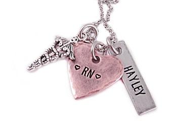 Personalized Nurse Necklace RN - Nurse Gift - Nursing Graduation - Hand Stamped Jewelry - RN Necklace - Live Love Heal - RN Gift - Nurse