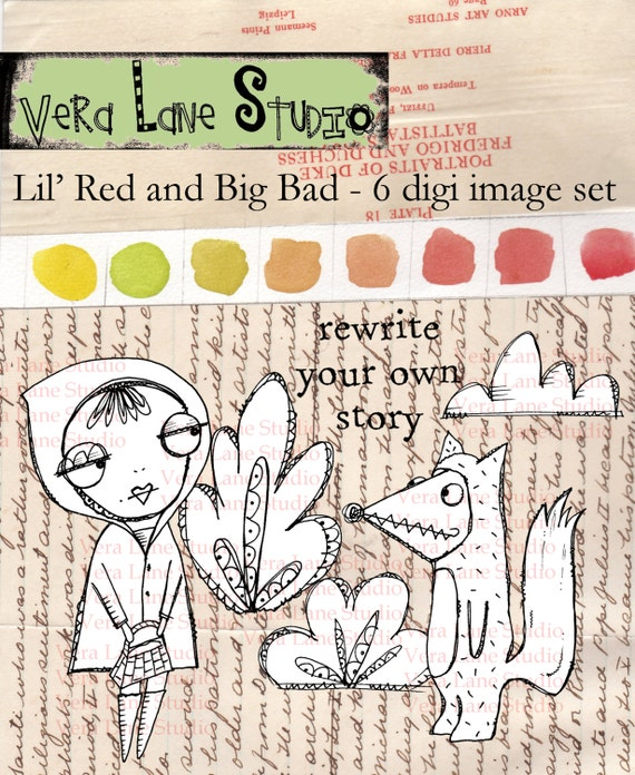 Little Red Ridinghood digi stamp set. Whimsical and quirky, perfect for paper craft, art journaling and available for instan download.