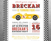 Race Car Birthday Invitation Card, Ticket, Racing, Customizable, Printable #128