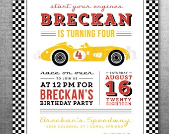 Race Car Birthday Invitation Card, Ticket, Racing, Customizable, Printable #128