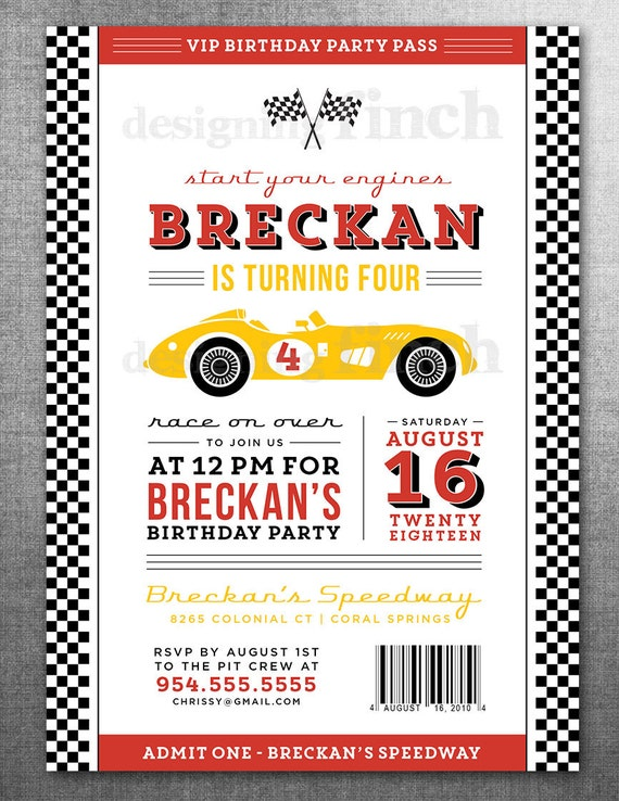 Cars Invitation Card Template Free: Race Car Birthday Invitation Card Ticket Racing