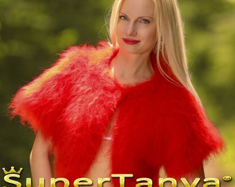 Custom made hand knitted mohair sweater bolero in bright red by SuperTanya