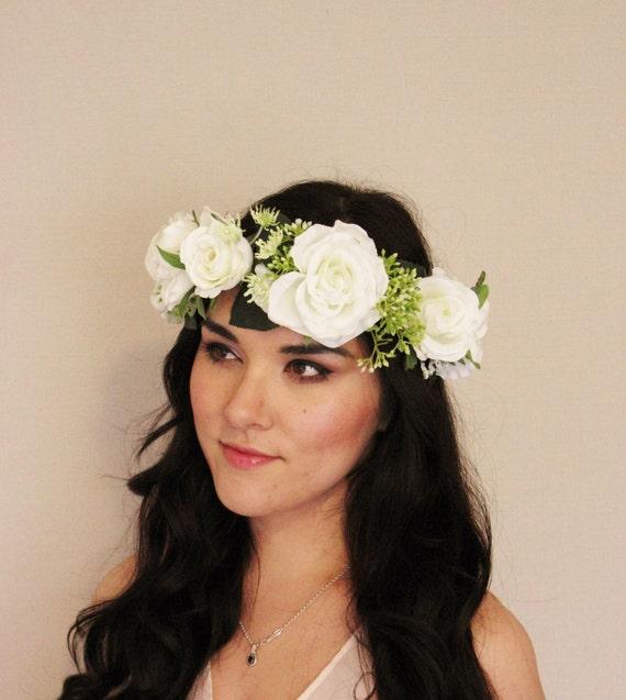 Wedding White Flower Crown: Items Similar To White Rose Woodland Flower Crown, Green