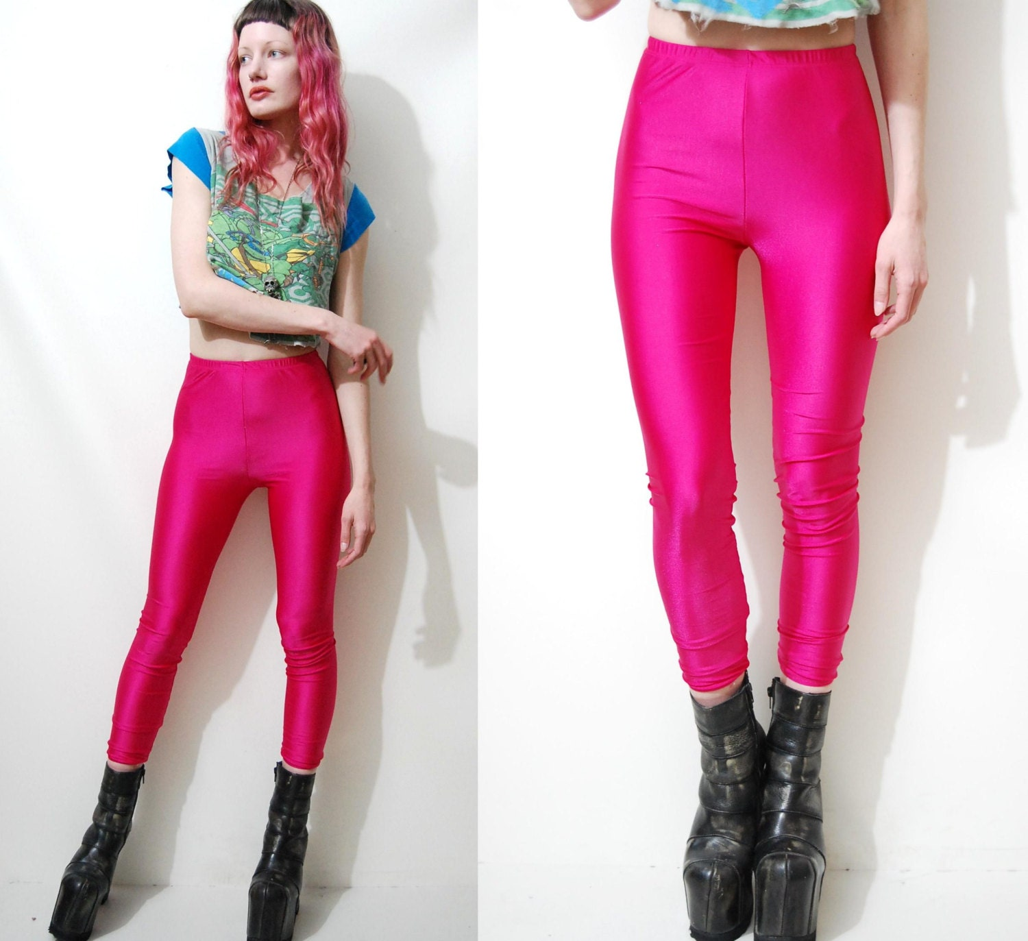 80s Vintage SPANDEX Lycra Leggings SHINY Bright Hot Pink