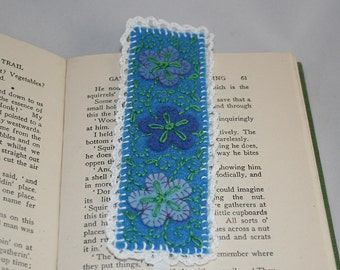 Embroidered Felt Bookmark - Filigree design on blue