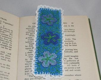 Embroidered Felt Bookmark - Filigree design on blue