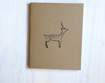 Notebook: Deer, Woodland, Nature, For Her, For Him, Kids, Unique, Gift, Jotter, Journal, Small Notebook, New Years, Kraft, Brown, Favor