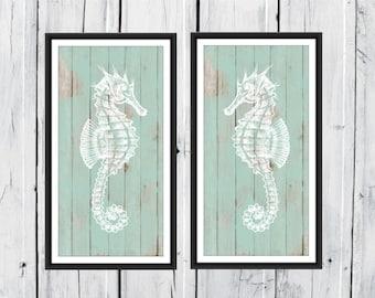 Seahorse 2 Piece Print Set - Wood Background - Custom Colors