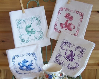 Embroidered Set of Kitchen Designs in Teapots, Teacups, Sugar Bowls and Flowers