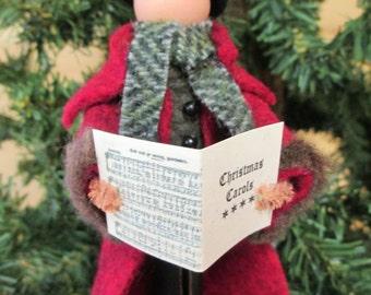 Christmas Caroler Gentleman Ornament, Handmade