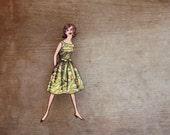 Fabulous Fashion Brooch, Green Frock Brooch, Vintage Fashion Brooch, Made in Australia