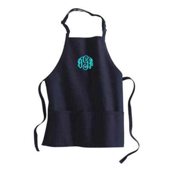 Monogram Apron Personalized Womens Aprons 3 Pockets By