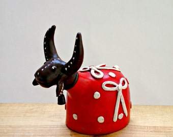 Rustic Handmade Brazilian Pottery Cow Ornament, South American Folk Art