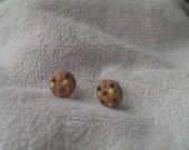 Polymer clay reeses pieces cookie stud earrings handmade