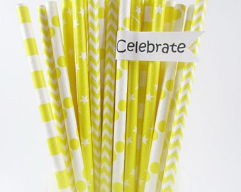 25 Yellow Mix Paper Straws, Kids Birthday, Cake Pop Sticks,