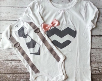 Big sister, Little brother shirt & bodysuit set, tie for him heart for her, matching, chevron, gray, white, Sibling Set, gift, child fashion