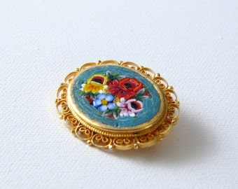 Vintage Micro Mosaic Flower Brooch Pin - Italy
