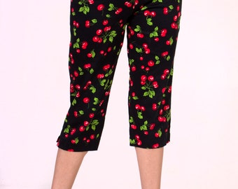 In STOCK Black Cherry Capri Pants size XS-XL