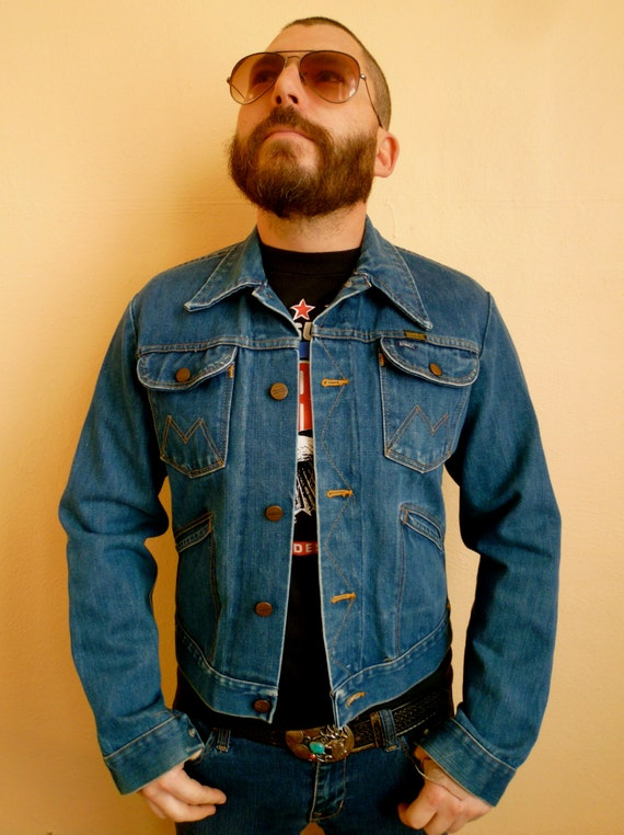Vintage 70s Maverick Men S Denim Jacket Size Small