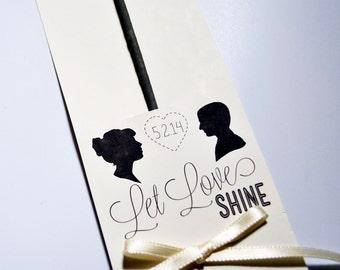 DIY Let Love Shine Sparkler Holder, Do It Yourself Anniversary Party Favor, Black & White Wedding Reception Favor, LGBT Wedding Favor