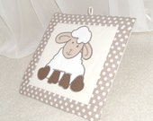 Sheep Baby Quilt Images -2 pieces-, Childrens Decor , Easter