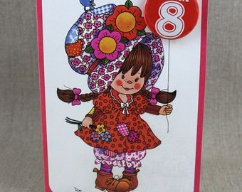 Unused For Your Birthday 8 Badge Patchwork Girl Old New Stock with Envelope Age Card