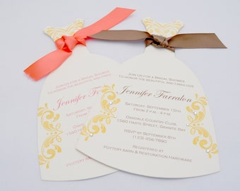 10 Dress Bridal Shower Invitation with Custom Wording in Cream and Gold