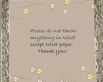 Decorative Septic Sign - Silver Flowers/ Bathroom Rules Wall Decor