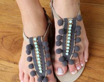 Pom Pom Sandals. Greek leather sandals. Aqua and Grey summer shoes. Handmade sandals. Beachwear sandals. Swarovski crystals