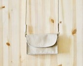 crossbody messenger bag in pure Italian soft leather, classic beige, long strap, boho bag for women, girls, ONE OF A KIND, gift idea