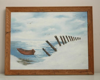 Vintage Oil Painting Row Boats Docked Ocean Scene