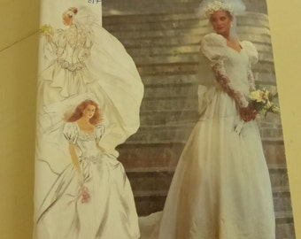 Vintage Simplicity 7429 Misses Early 1990s Bridal Gown Sizes 8-16  Factory Fold