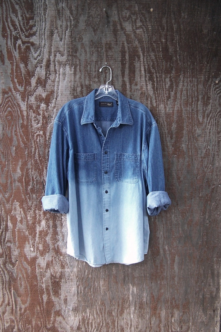 Half Bleached Denim Shirt Long Sleeve Dip Dye Ombre Oxford