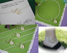Personalized Bridesmaid Infinity Anklet, Infinity Friendship Jewelry, Silver Infinity and Birthstone Anklet, Bridesmaid Gift, Thank You Card