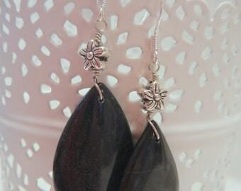 Onyx Teardrop Earrings, Black Earrings, Silver Earrings