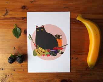 Black Cat with Fruit A5 Print - Black Cat illustration - Cat Print - I like Cats - Black cat - Home decor - Cat art - Wall art - art - Cat