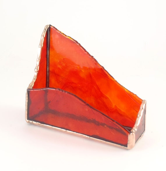 Unique Desktop Business Card Holder Red Stained Glass