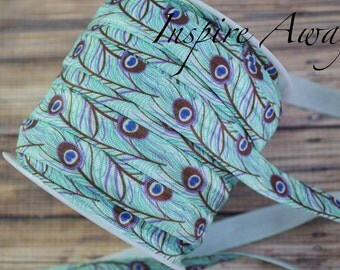 Peacock Printed Foe elastic, satin elastic, shiny elastic, elastic by the yard, FOE elastic, headband supply, hair ties,