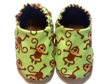 Monkey Baby Boy Shoes, 0-6 mos. Baby Booties, Baby Gift