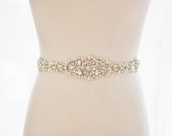 Bridal Rhinestone Wedding Sash, Crystal Wedding Belt