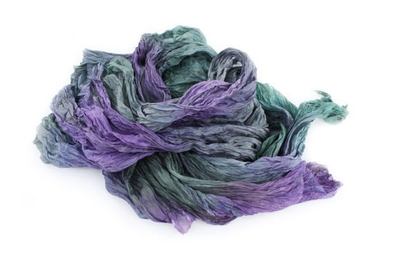 Purple silk scarf Lavender Field - purple, green, grey, lavender silk scarf.