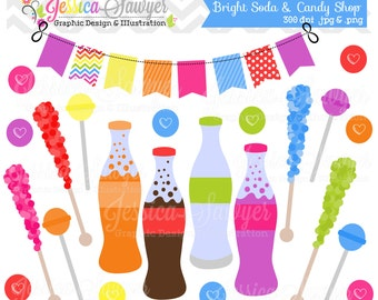 INSTANT DOWNLOAD, bright soda and candy shop clipart, for commercial use, personal use, cards, scrapbooking, invites