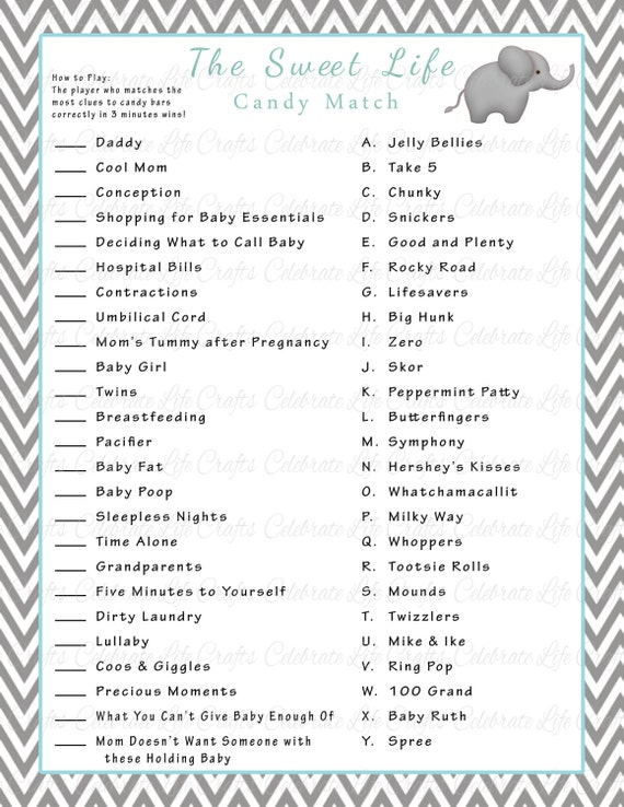 Baby Shower Sweet Life Candy Bar Match Game Printable Baby Shower