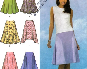 Misses Flared Skirts Sewing Pattern High-Low Hem Colour Blocked Simplicity 4592 Size 6 8 10 12