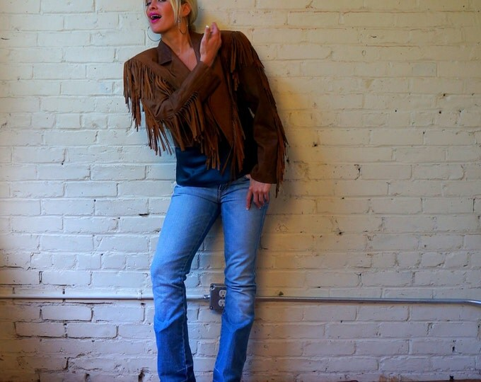 Fringe Jacket 1980s Distressed Leather Retro Country Western Womens Outerwear Small Vintage Batwing Tassel Motorcycle Short Cropped Coat