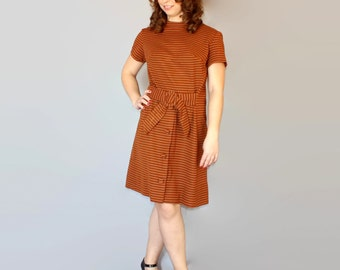 60s brown dress. Vintage stripes dress. Short sleeve dress. Size Large. Mad Men fashion. A-line dress. Casual dress. Office dress