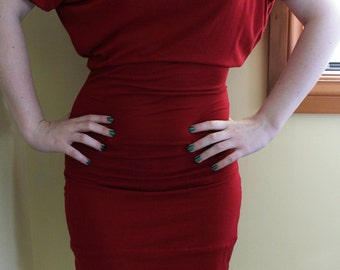 Red Knit Batwing Pencil Dress - Made to Measure