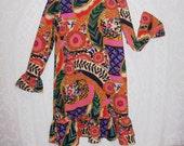 Size 12 - Vintage Girls' Dress - by Lands' End - Long Sleeve - School Dress - Psycedelic