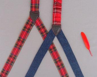 Plaid Womens Suspenders, Checkered Suspenders, Retro suspenders for women, Gift for daughter, Women Braces