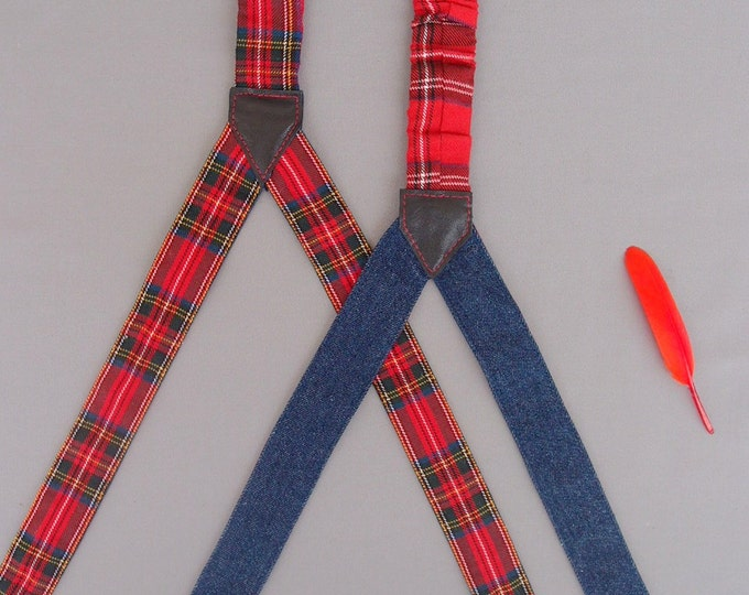 Handmade Red Womens Suspenders,Girlfriend Gift, Scottisch Checkered Suspenders, Gift for her, Gift Ideas, Braces
